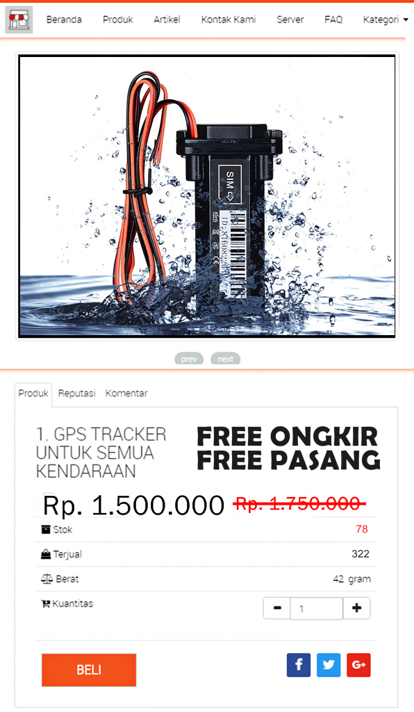 Harga IndoSAE GPS Tracker Anti Air